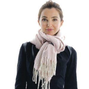 Cloie Accessories - New Cloie pink and white herringbone scarf